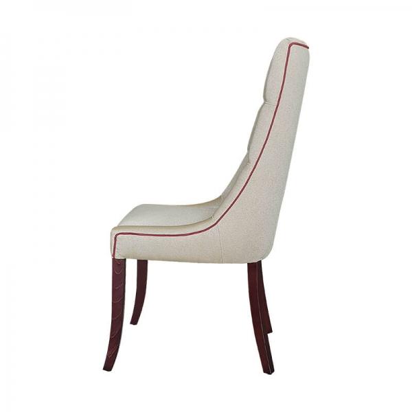 Chaise matelassée en tissu pieds bois - Carol - 4