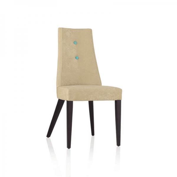 Chaise contemporaine en tissu sable avec boutons bleus et pieds bois - Park - 7