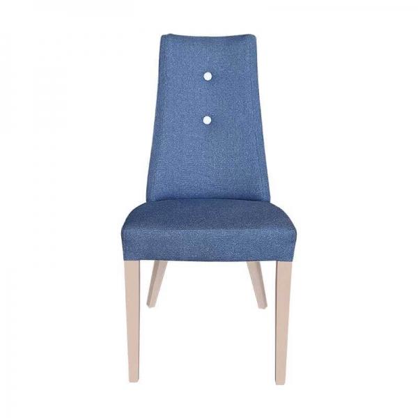 Chaise contemporaine en tissu bleu avec boutons blancs et pieds bois - Park - 9