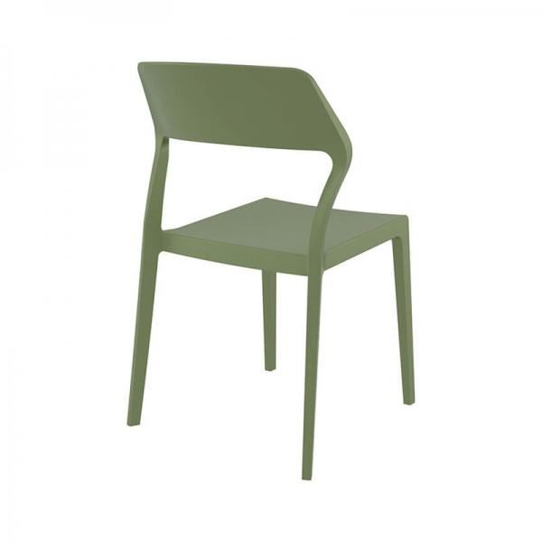 Chaise de jardin empilable moderne en polypropylène vert olive - Snow - 26