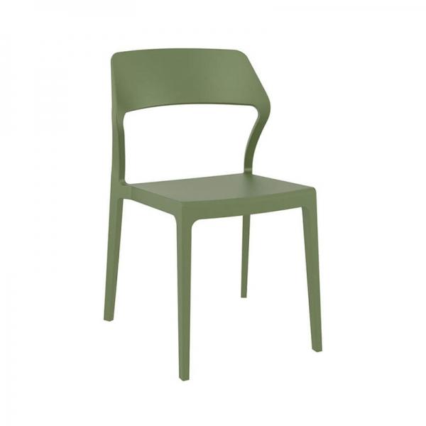 Chaise de jardin design en plastique vert olive empilable - Snow - 21