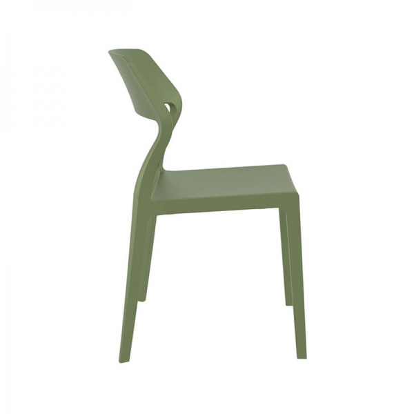 Chaise de terrasse empilable tendance en polypropylène vert olive - Snow - 25