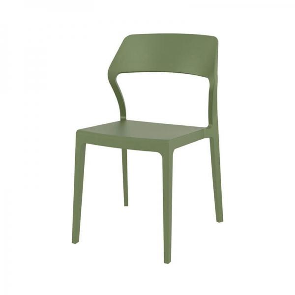 Chaise d'extérieur empilable design en polypropylène vert olive - Snow - 22