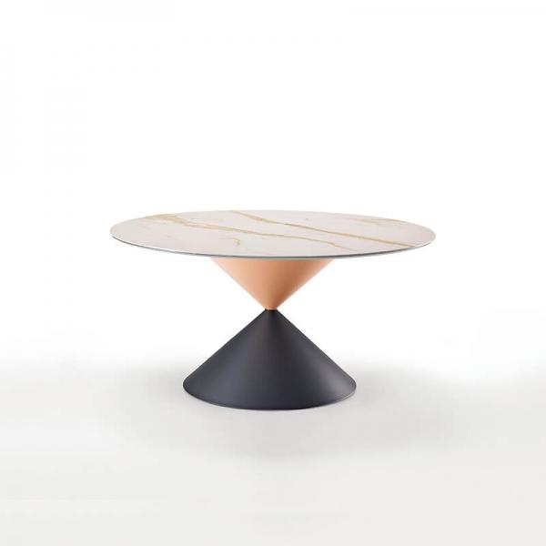 Table ronde design plateau c ramique pied central sablier - Table ronde design pied central ...