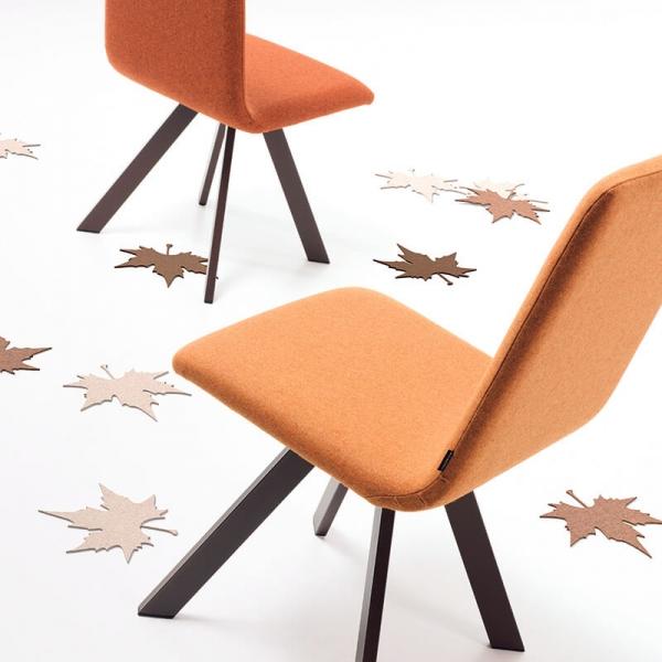 Chaise rembourrée tissu et pieds métal - Vulcano Mobliberica - 2