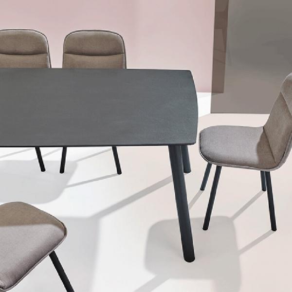 Table Mobliberica de salle à manger en céramique et pieds métal - Köln - 2