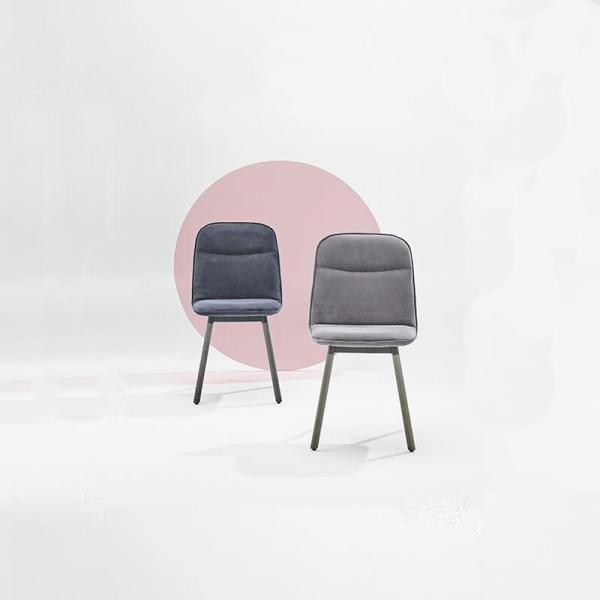 Chaise rembourrée tissu et pieds bois - Köln Moblibérica - 1