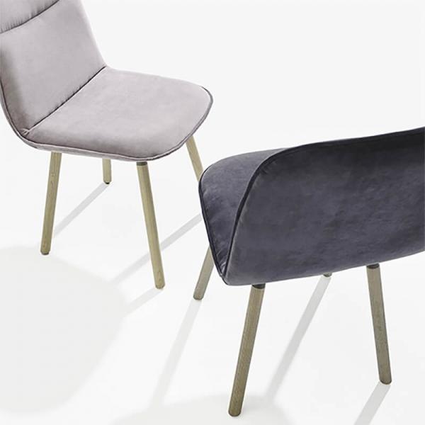 Chaise rembourrée espagnole en tissu et pieds bois - Köln Moblibérica - 2