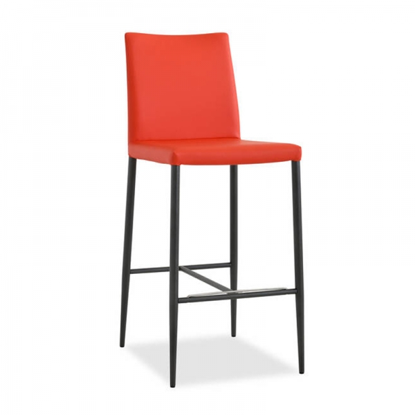 Tabouret contemporain en cuir orange - Beo - 1