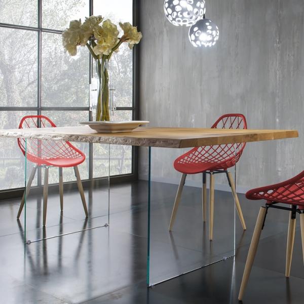 Table design avec pieds en verre et plateau bois - 13.05 - 3