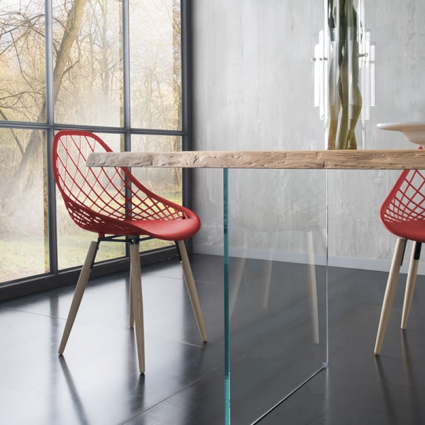 Table design avec pieds en verre et plateau bois massif - 13.05 - 4
