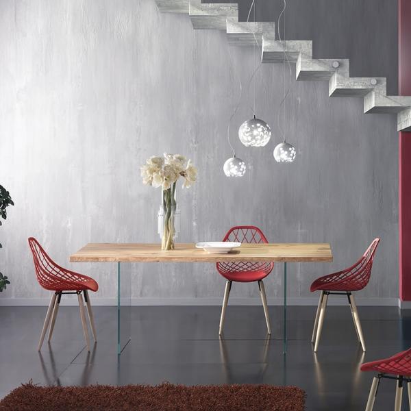 Table design rectangulaire en bois avec pieds en verre - 13.05
