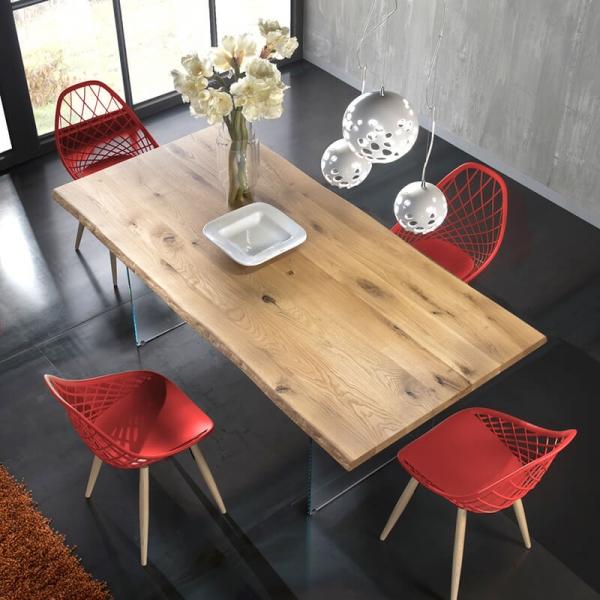 Table design plateau en bois avec pieds en verre - 13.05 - 2