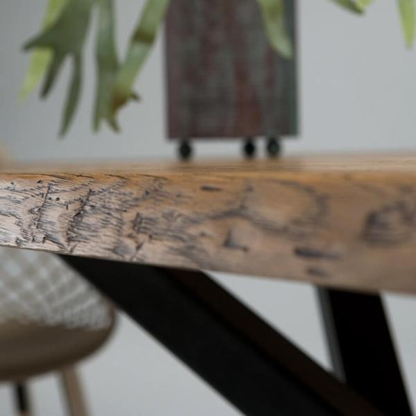 Table de salle à manger style industriel pied central mikado - 14.03 - 3
