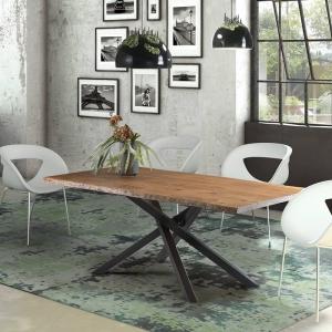 Table de salle à manger industrielle pied central mikado - 14.03