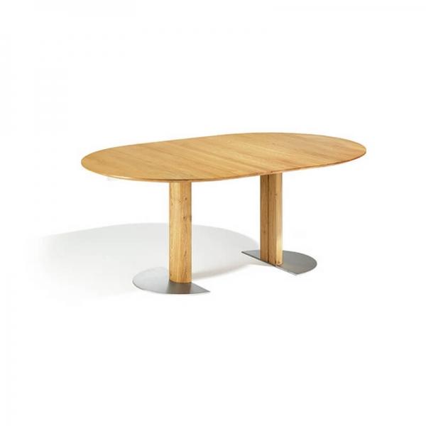 Table ronde en bois massif extensible avec pied central - 12.11 - 1