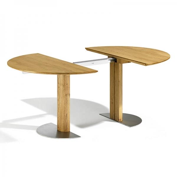 Table ronde en chêne massif extensible avec pied central - 12.11 - 2