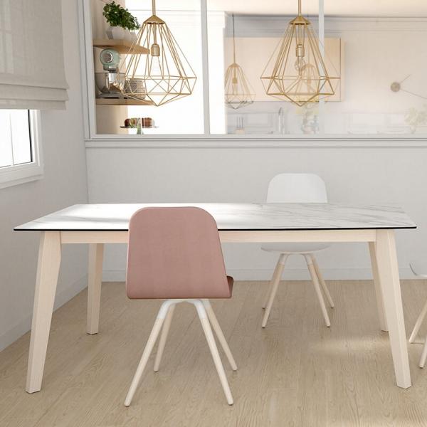 Chaise scandinave en synthétique rose et bois - Nuba - 6