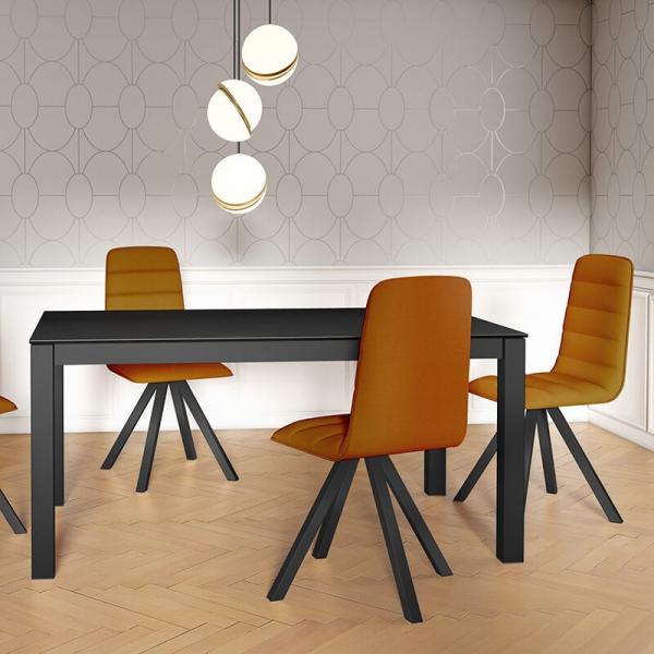 Table contemporaine extensible en céramique et métal - Tokio - 4