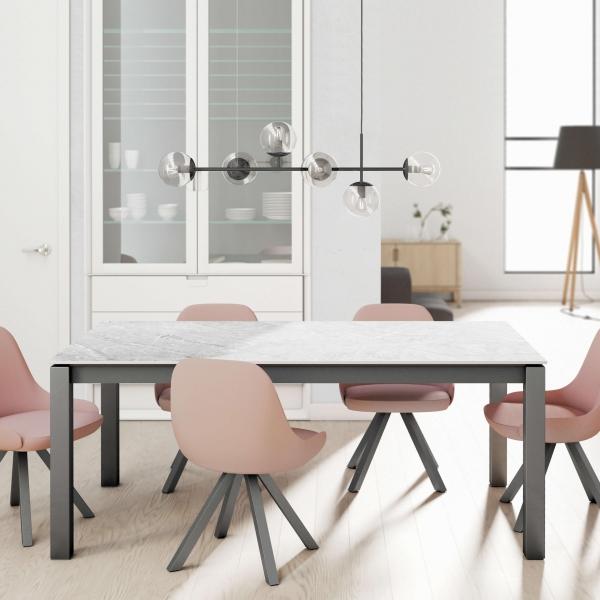 Table en Dekton rectangulaire extensible avec pieds en métal - Lakera - 5