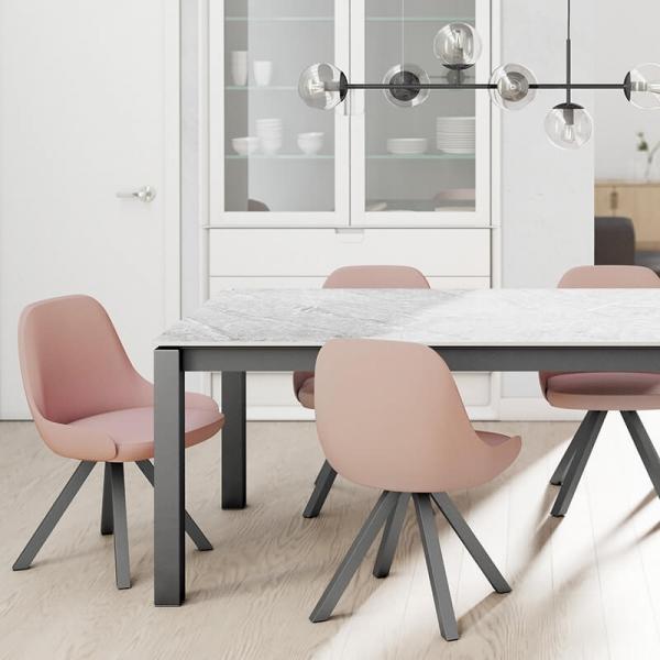 Table en Dekton rectangulaire extensible avec pieds en métal - Lakera - 6