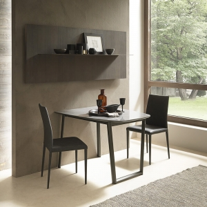 Table demi oblongue extensible en céramique et métal - Ribot