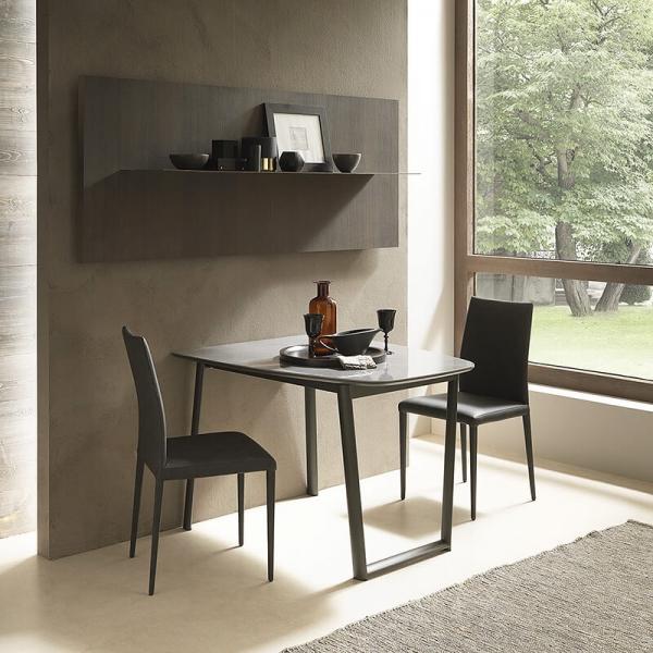 Table demi oblongue extensible en céramique et métal - Ribot - 1