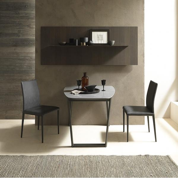 Table demi oblongue avec allonges en céramique et métal - Ribot - 2