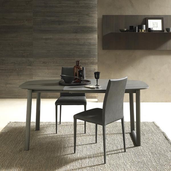 Table demi oblongue en céramique et métal - Ribot - 5