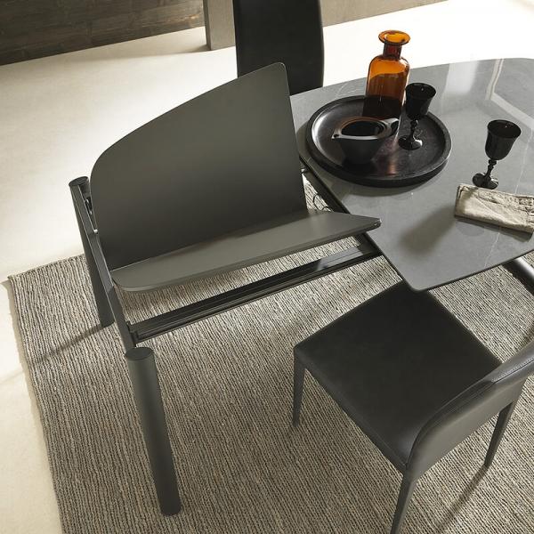 Table demi oblongue en céramique et métal - Ribot - 6