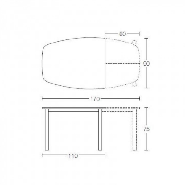 Table demi oblongue en céramique et métal - Ribot - 7