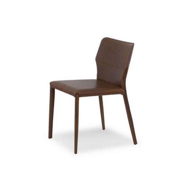 chaise contemporaine croûte de cuir hauteur 80 cm - Maryl - 4