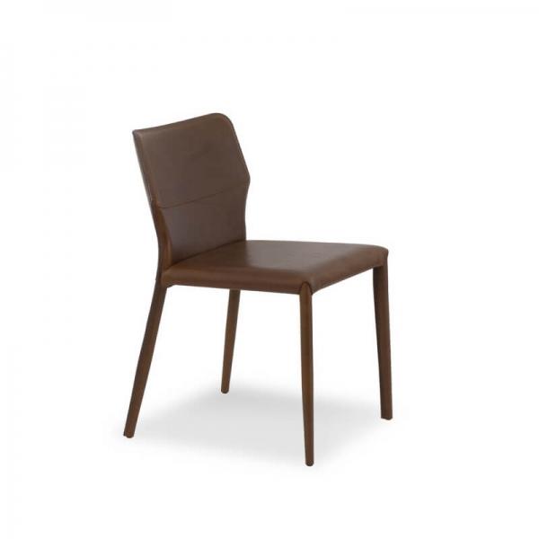 chaise de salle à manger en croûte de cuir hauteur 80 cm - Maryl - 3