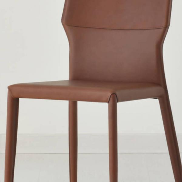 chaise de salle à manger en croûte de cuir hauteur 86 cm - Maryl A - 7
