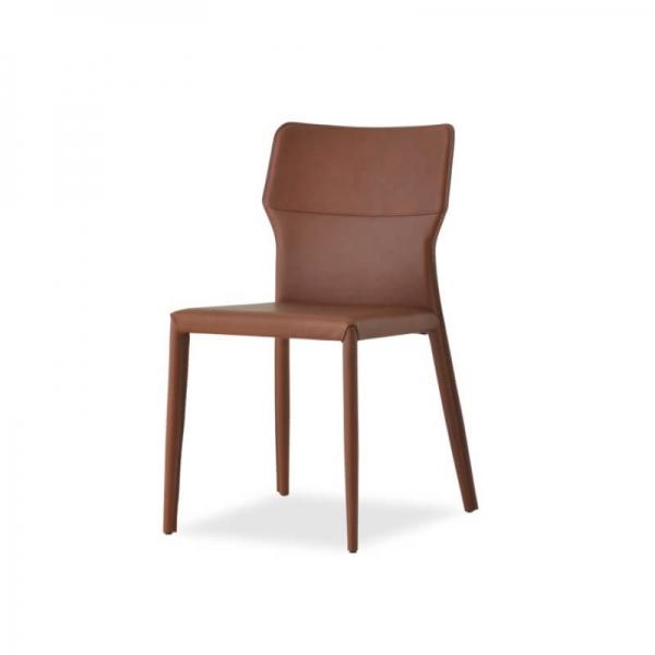 chaise contemporaine en croûte de cuir hauteur 86 cm - Maryl A - 2