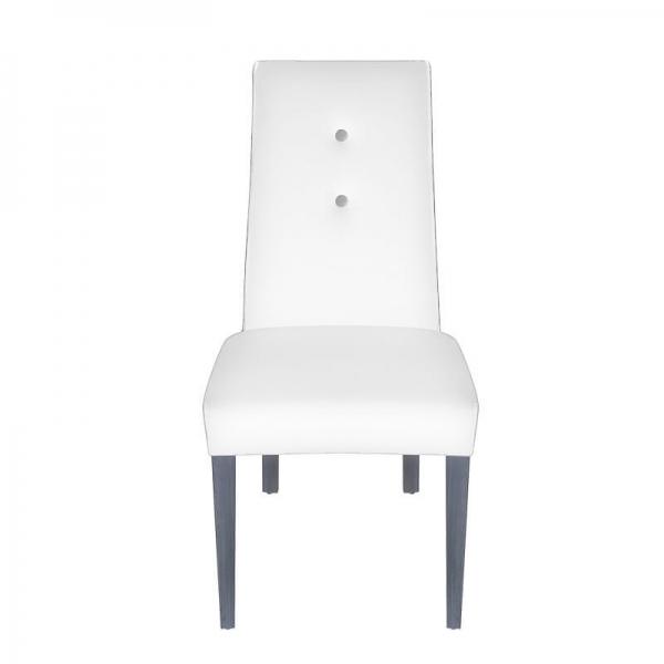 Chaise contemporaine rembourrée en tissu blanc - Mila - 5
