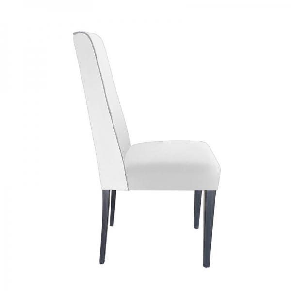 Chaise contemporaine rembourrée en tissu blanc avec boutons gris - Mila - 6