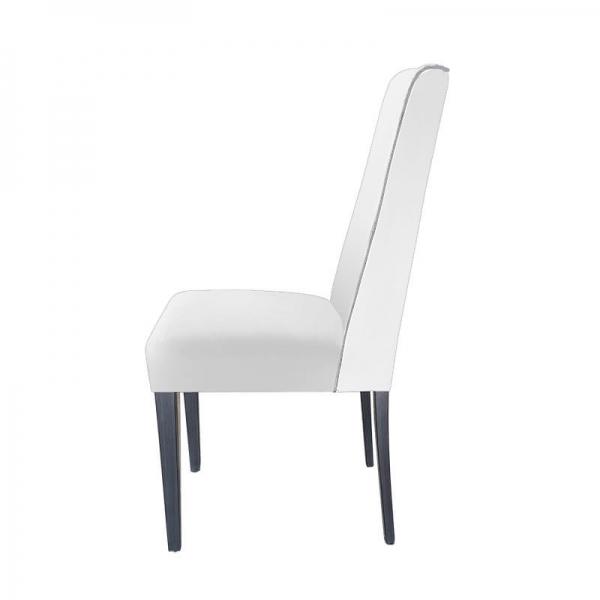 Chaise rembourrée en tissu blanc avec boutons gris - Mila - 7