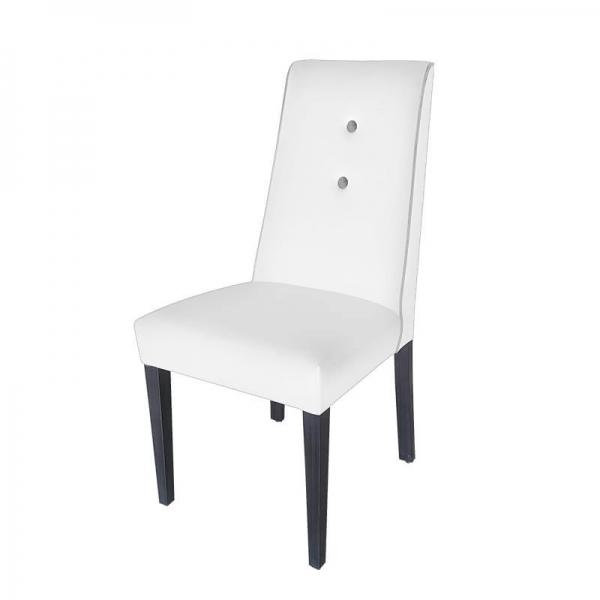 Chaise en tissu blanc avec boutons gris rembourrée - Mila - 3