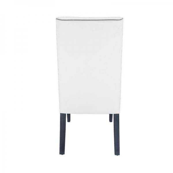 Chaise en tissu blanc avec boutons gris pieds en bois - Mila - 4