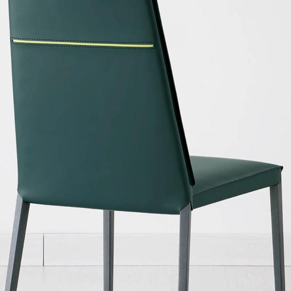 chaise de salle à manger en croûte de cuir - 4