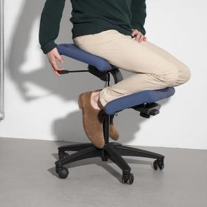 Siège ergonomique en tissu bleu sur roulettes - Wing Varier®