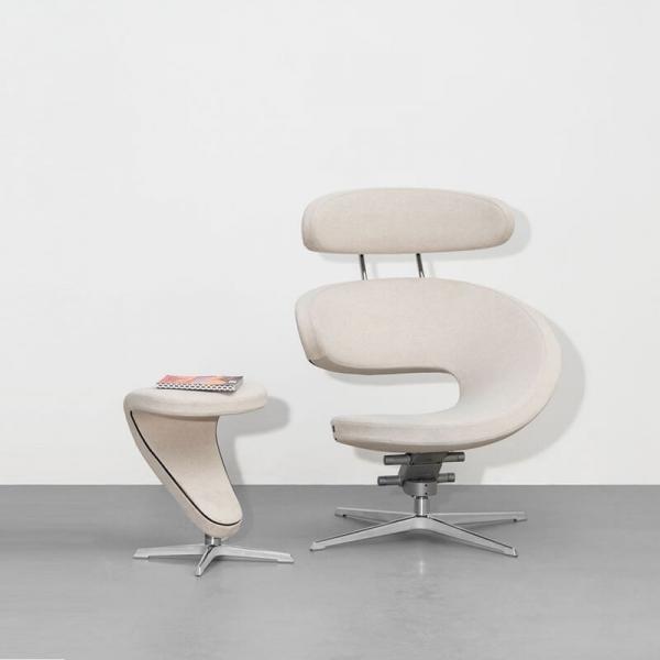 Fauteuil de relaxation ergonomique en tissu blanc - Peel Varier® - 1