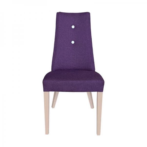 Chaise contemporaine en tissu violet avec boutons blancs et pieds bois - Park - 3