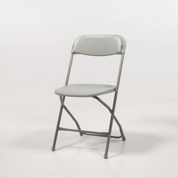 Chaise pliante grise en plastique et métal - Alex 6 - 6