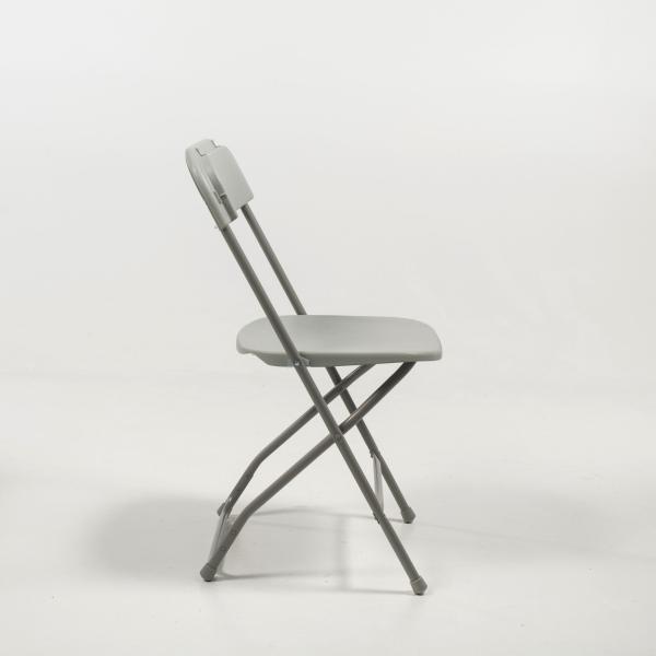 Chaise pliante grise en plastique et métal - Alex 3 - 3