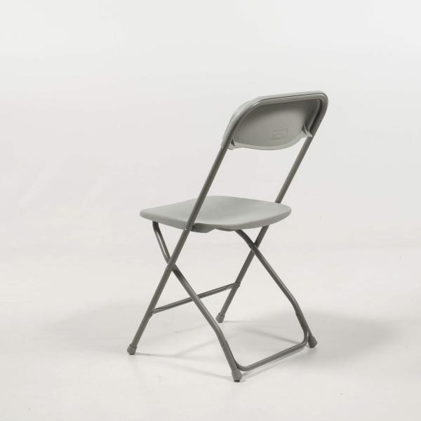 Chaise pliante en plastique gris et métal - Alex 5 - 5