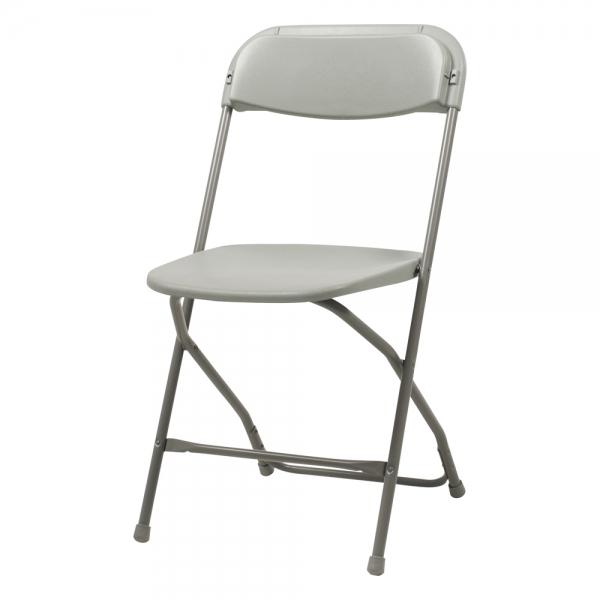 Chaise pliante en plastique et métal gris - Alex 2 - 2