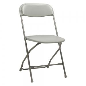 Chaise pliante en plastique gris et métal - Alex