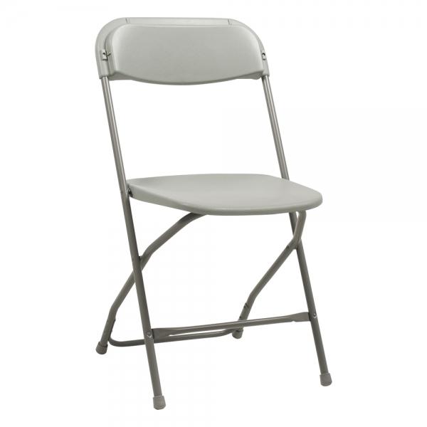 Chaise pliante en plastique gris et métal - Alex - 1
